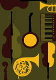 Strings, keyboards, wind  music instruments poster