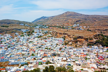view of lindos city near mountain in greece