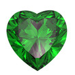 Leinwandbild Motiv Heart shaped Diamond isolated. emerald