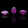 Marquis amethyst. Collections of jewelry gems on black