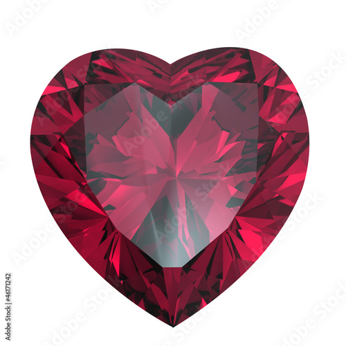 Heart shaped Diamond isolated. rhodolite - 46171242