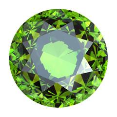 Round gemstone Emerald. Peridot