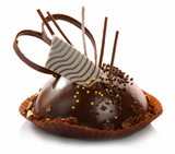 Delicious chocolate pastry with decoration isolated