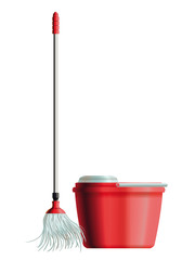 Set of mop and bucket for house cleaning. Eps10