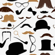 seamless pattern in retro style mustache, hat, sunglasses, tube