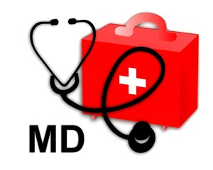 Medical doctor MD, stethoscope and first aid kit - illustration