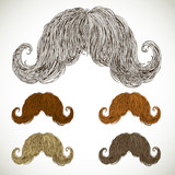 lush mustache groomed in several colors.