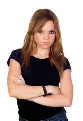 Attractive angry woman with black shirt