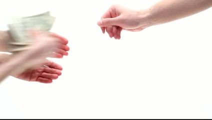 Hands competing for getting dollars