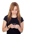 Winner blond woman with black shirt typing a message on mobile