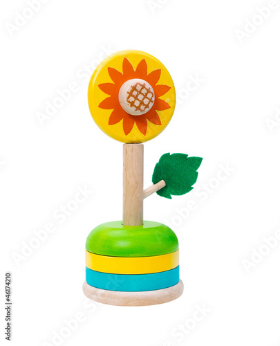 Colorful wooden sunflower toy isolates