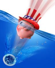 Pink Piggy Bank Sinking Down the Drain.