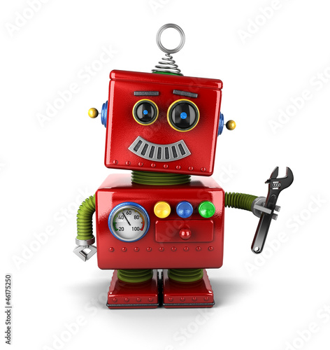 Toy mechanic robot with wrench over white