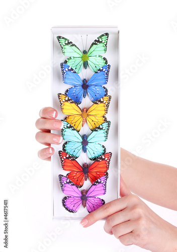 colored butterfly collection in hands isolated © Guzel Studio