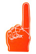 Orange Foam Spirit finger keepsake on a white background