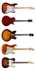 Group of Five Electric guitars on white background