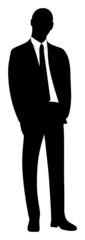 Silhouette eines stehenden Geschäftsmannes