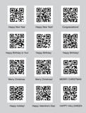 set of QR codes with congratulations vector illustration