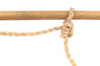 Jute Rope with Adjustable Grip Hitch Knot on White Background