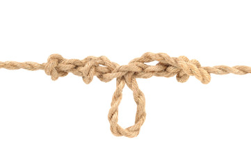Jute Rope with Dropper Loop Knot on White Background