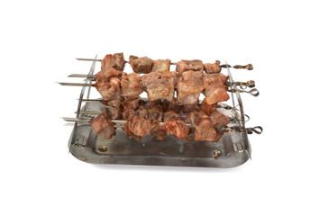 cooking shish kebab of pork