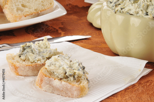 Spinach dip on Italian toast