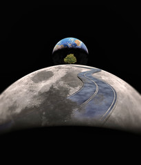 street on moon -Elements of this image furnished by NASA-
