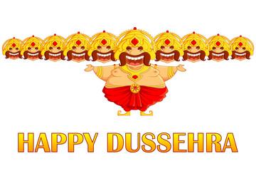 vector illustration Ravana cartoon in dussehra greeting