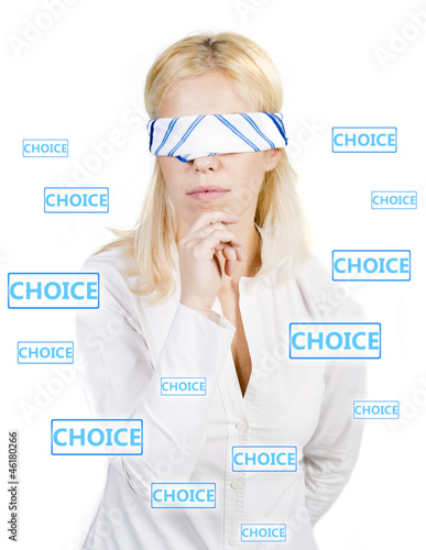 Woman with blindfold trying to make a choice