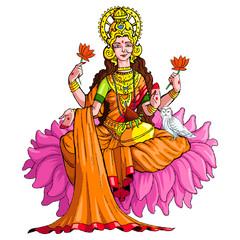 vector illustration of godess lakshmi against white background