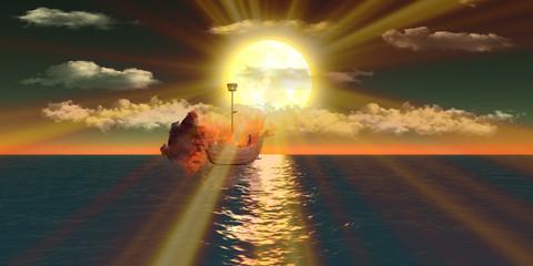 Blazing ship over sea at sunset