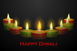 vector illustration of Diwali decoration with colorful diya