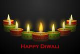 vector illustration of Diwali decoration with colorful diya