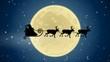 Rentierschlitten gleitet an großem Mond vorüber