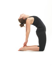 woman in reversed yoga posture