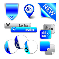 Blue elements - ribbon, pointer, corner, arrow, button, option