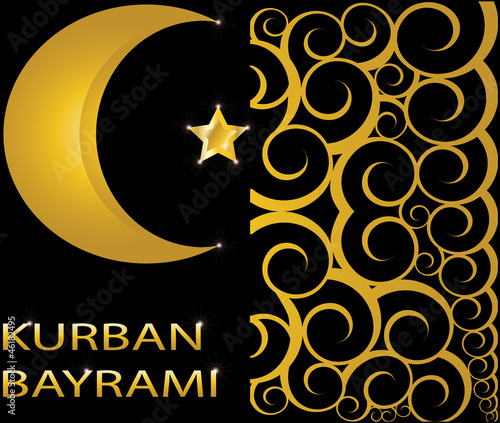 Kurban Bayrami muslim gold star and crescent
