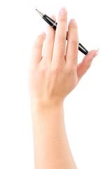 Frau spielt mit dem Kugelschreiber