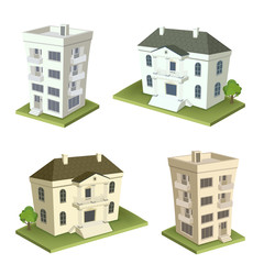 Block of flats, house perspectival illustration
