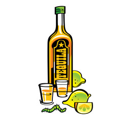 Tequila with lemons and caterpillar