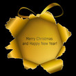 Abstract golden Xmas ball made ​​of torn paper on black back
