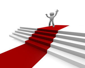 Red carpet on white stairs with a jumping man