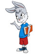 Little rabbit scientist with book and glasses