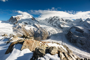 Monte Rosa and Lyskamm mountain panorama
