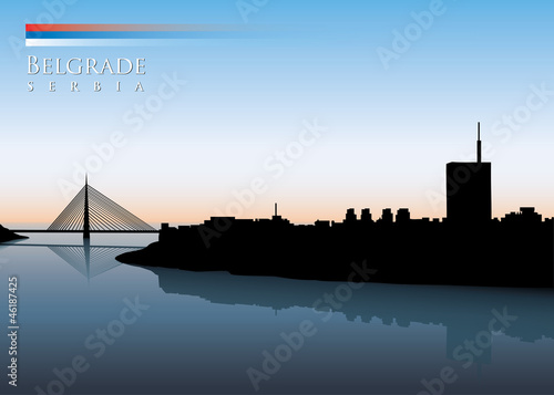 Belgrade skyline - vector illustration