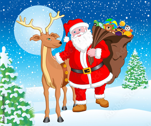 Santa and Reindeer with Gift for Christmas