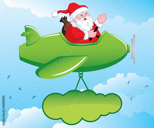 Keuken foto achterwand Vliegtuigen, ballon Santa in Aeroplane
