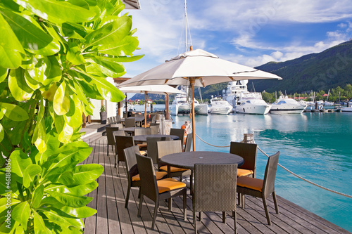Cozy restaurant on decking by the beautiful marina