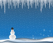 Vector winter snowman icicles