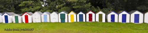 A Line of Bathing Boxes, Devon, England